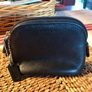 Coach small leather makeup bag.